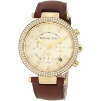 Michael Kors Chronograph Gold Dial Crystal set Ladies Watch MK2249
