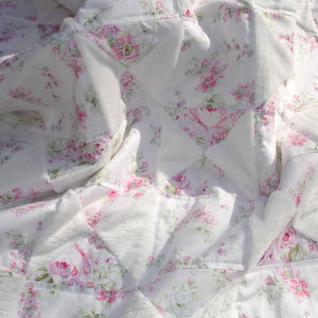 Baby Girl Shabby Chic Quilt Throw Blanket - Pink, Lavender, White, Floral - Minky, Wildflowers