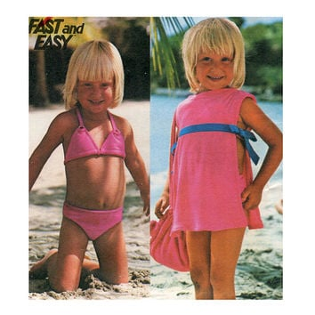 1970s Child's BIKINI SWIMSUiT, COVER-Up & Bag Pattern Toddler Bikini Easy to Sew Vintage Butterick 4889 Size 4, 5 Girls Sewing Patterns