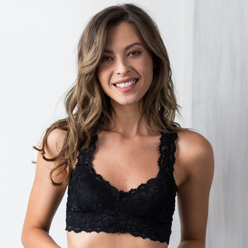 Racer Back Long Line Bralette with Lace