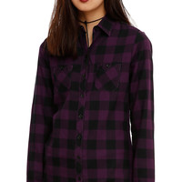Purple & Black Plaid Spine Back Girls Woven Top