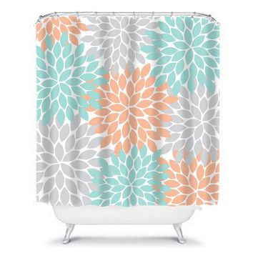Floral SHOWER CURTAIN, Aqua Peach Gray, Flower Petals, Custom MONOGRAM Personalized, Floral Bathroom Decor, Bath Towel, Plush Bath Mat