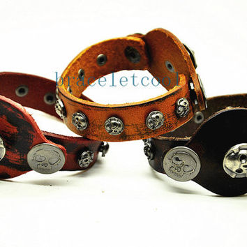 Real Leather Cuff Bracelet,Women Leather Jewelry Bangle Cuff Bracelet Men Leather Bracelet RC21