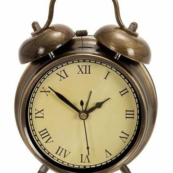 Benzara Old Time Table Clock In Antiqued Brass With Two Chimes