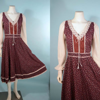Vintage 70s Gunne Sax Prairie Corset Lace up Dress/Boho Hippie Calico Print Puff Sleeve Music Festival Country Faire Midi/ Kawaii Maiden M