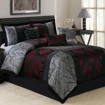 7 Piece SHANGRULA Jacquard Big Square Patchwork Jacquard Comforter Set Queen King CalKing Size In Gray/Burgundy Color