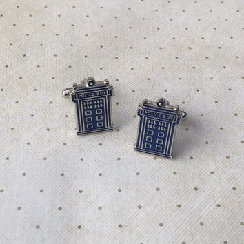 FREE SHIPPING Dr. Who Tardis Doctor Cufflinks Cuff Links in Silver