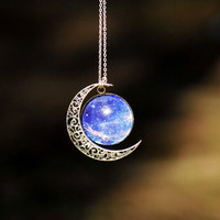 Silver hollow star galactic cosmic moon necklace by fantasticgift
