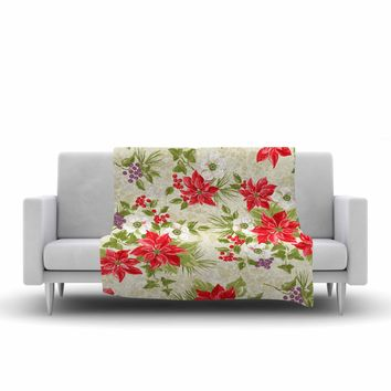 "Jacqueline Milton ""Poinsettia Posy"" Red Green Holiday Floral Painting Watercolor Fleece Throw Blanket"