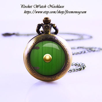 Lord of the rings hobbit door hole cozy Pocket Watch Necklace , Bronzen Watch Necklace ,Women Necklace, Personalized Gift, vintage glass