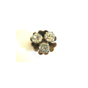 Small Floral Rhinestone 12k Gold Fill Brooch or Pendant