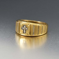 Art Deco 10K Gold Mens Ring with Diamond Cross