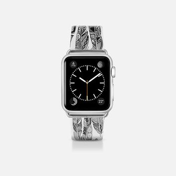 geo feathers black white apple watch band Apple Watch Band (38mm) by Sharon Turner | Casetify