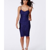 Missguided - Pandora Lace Eyelash Midi Dress Cobalt