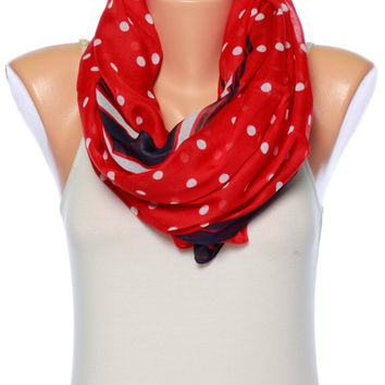 red scarf polka dot scarf Gift Ideas for her Infinity scarf shawl scarf Spring scarf Summer scarves Womens Fashion scarves Womens Scarves