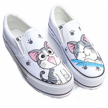Hand-painted Canvas Shoes Slip ON Heels Beautiful Personalized Hand-painted Shoes Spring Autumn Fashion Casual Shoes EU34-43