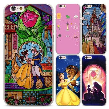 Beauty and the beast Prince and princess design hard clear Case Cover for Apple iPhone 6 6s Plus 7 7Plus 8 8Plus X SE 5 5s