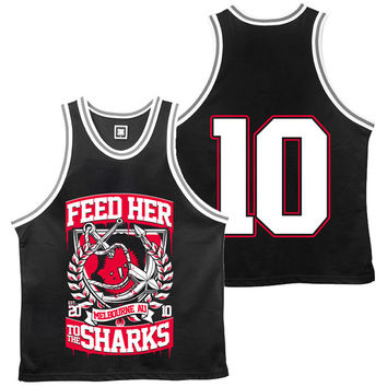 Feed Her To The Sharks: Broken Anchor Basketball Jersey (Black)