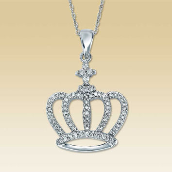 10K White Gold 1/4 Carat t.w. Diamond Crown Necklace