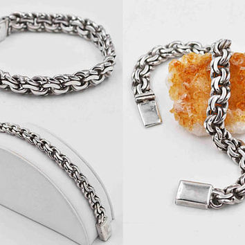 Vintage Taxco Sterling Silver Chain Link Bracelet, Figure 8, Curb Style, 7 5/8 Inches, Thick, Heavy, 41.3 Grams, 3D, Unisex #c382
