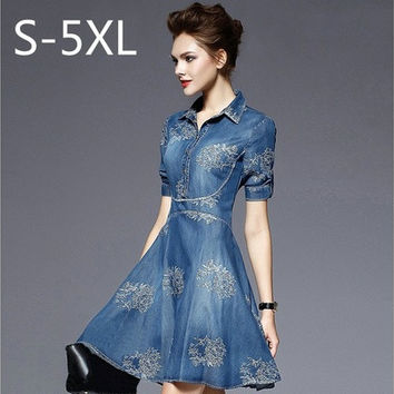 S-5XL 2016 Summer Autumn Vintage Half Sleeve Slim Dress Plus Size Clothing Embroidered Vestidos Jeans Dress [9305616071]