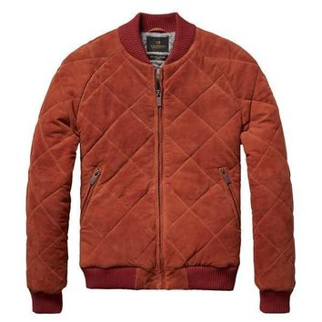Quilted Suede Bomber Jacket by Scotch & Soda