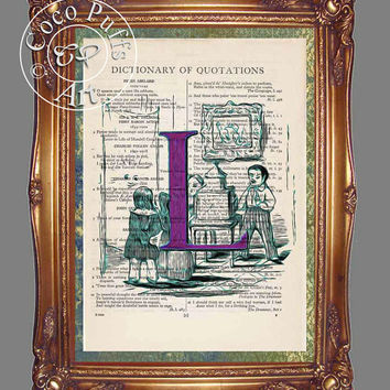 Purple Letter L with Children Playing with a Doll House Art Beautifully Upcycled Vintage Dictionary Page Book Art Print