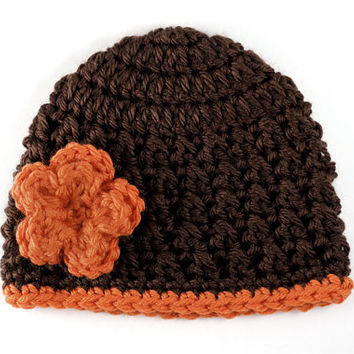 Brown Crochet Baby Hat with Orange Flower // 6 to 12 Months // Textured Baby Beanie // Ready to Ship