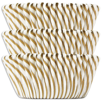 Gold Candy Stripe Baking Cups