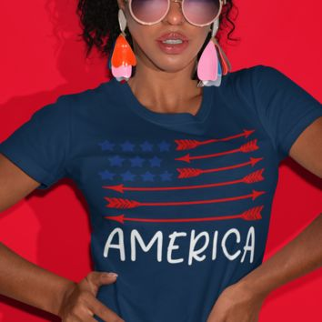 Women's American Flag Arrow T-Shirt Freedom Patriotic 4th July Shirt America Shirts Memorial Day Shirt Hipster