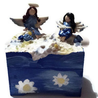 Personalized Angel Jewelry case - Trinket Box Blue Fairy - Jewel Box - Handmade Polymer Clay Angel