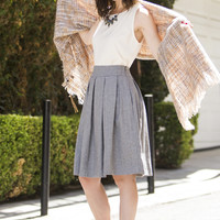 Danielle Grey Pleated Wool Skirt