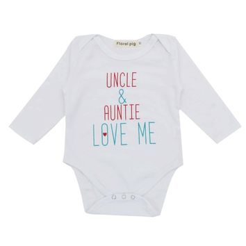 Baby Girl Boy Clothes Newborn Bodysuit Jumpsuit Tiny Cottons Uncle Auntie Love Me White Long Sleeve Baby Bodysuits