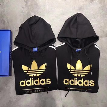 Women Couple Adidas Print Hoodie Sweatshirt Tops Sweater Pullover Black