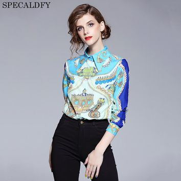 2018 Designer Tops High Quality Runway Shirt Women Long Sleeve Shirts Fashion Printed Vintage Blouse Womens Tops And Blouses