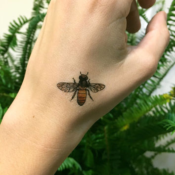 2 PACK - Honeybee Temporary Tattoos, Two Bees, Bumble Bee Tattoo, Insect, Bug, Nature Tattoo