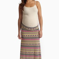 Yellow-Multi-Color-Vibrant-Printed-Maternity-Maxi-Skirt