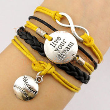 Infinity Wish, Live Your Dream, Softball, Baseball Charm Bracelet in Silver, Yellow, Black, Customize Bracelet, Friendship Gift, Sister Gift