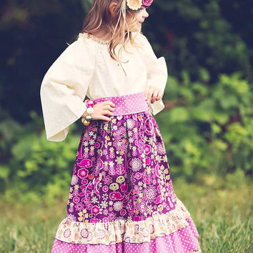 Maxi Peasant Dress  for Little Girls - Skirt and Top Outfit