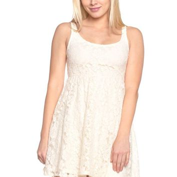 Women's Empire Waist Allover Lace Dress