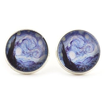 The Starry Night Stud Earrings Silver Tone EK27 Vincent Van Gogh Art Posts Fashion Jewelry