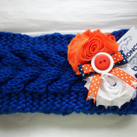 Knit Head Ear Warmer Denver Broncos NFL Football, Women Shabby Flower Headband