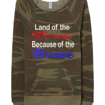 Camo - Land Of the Free - Off The Shoulder Sweatshirt- Eco Fleece - Ruffles with Love