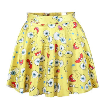 SpongeBob SquarePants digital printing skirt Print Skater Skirt Women Skirt Clothing skirt Dress = 5739000449