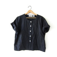 vintage black linen top. button up short sleeve shirt. minimalist shirt with seashell buttons. boxy blouse.