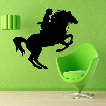 Horse Wall Decals Woman Horse Rider Vinyl Sticker Animals Horse Race Decor Kids Wall Decor Home Vinyl Wall Art Girl Nursery Room Decor KG429