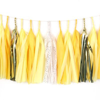 Hello Sunshine Tassel Garland - Gold and Yellow Tassel Garland - Tissue Paper Tassel Garland - Party Decoration // Kids Room Decor