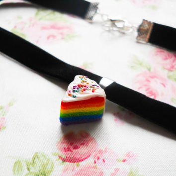 Rainbow Cake Choker, Choker Necklace, Choker, Miniature Food, Polymer Clay Jewelry, Kawaii Choker, Lolita, Cute Choker, Rainbow Cake, Charm