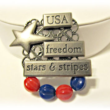 USA Patriotic Red & Blue Brooch Pin