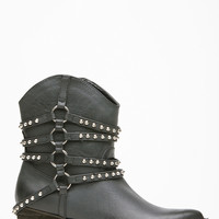 Black Faux Leather Studded Slouch Chunky Cowboy Boots